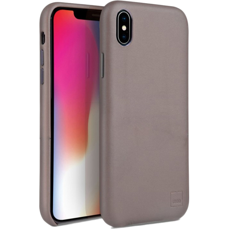 Чехол Uniq iPhone Xs Max Duffle Vale Genuine Leather бежевый