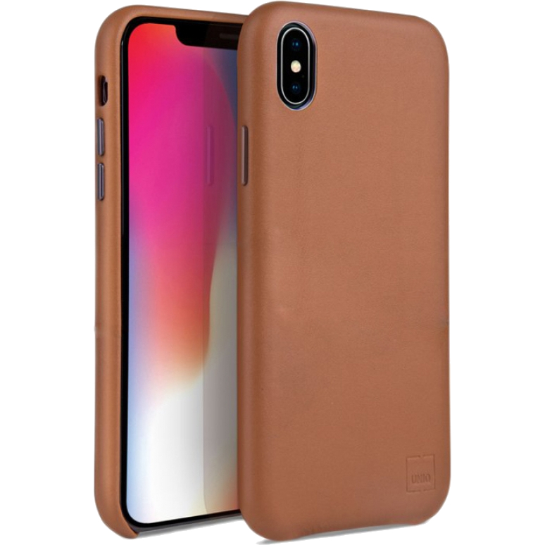 Чехол Uniq iPhone Xs Max Duffle Vale Genuine Leather brown
